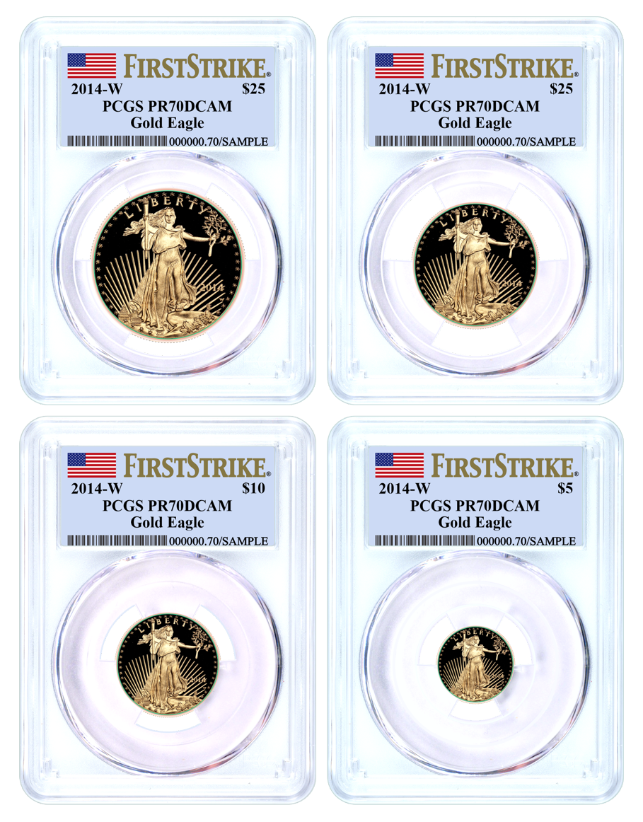 2014 W Proof Gold Eagle 4 Coin Set PCGS PR70 DCAM First Strike