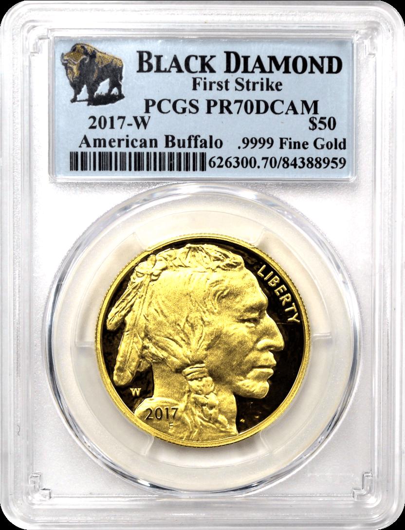 2017 W $50 1oz Proof 24k Gold Buffalo PCGS PR70 DCAM First Strike Bison Label
