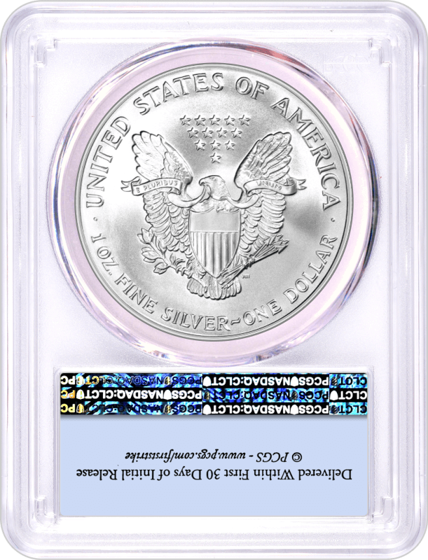 1993 $1 Silver Eagle PCGS MS69 First Strike Flag Label