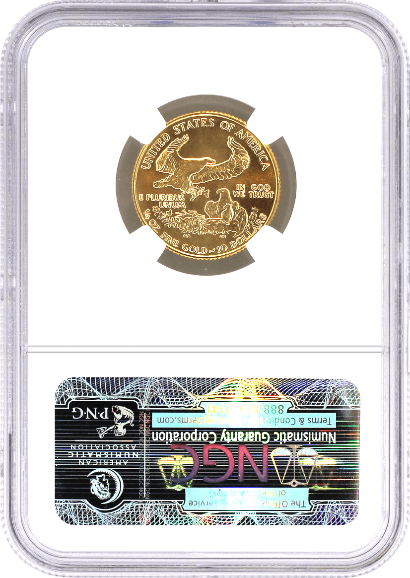 1986 $10 Gold Eagle NGC MS70 First Year of Issue Label