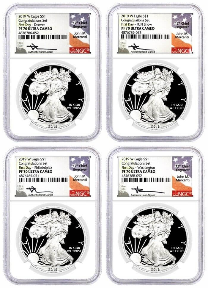 2019 W Proof Silver Eagle Congratulations Set 4 Coin Mint Locations Set NGC PF70 UCAM First Day of Issue Mercanti Signed with 10 Coin Vault