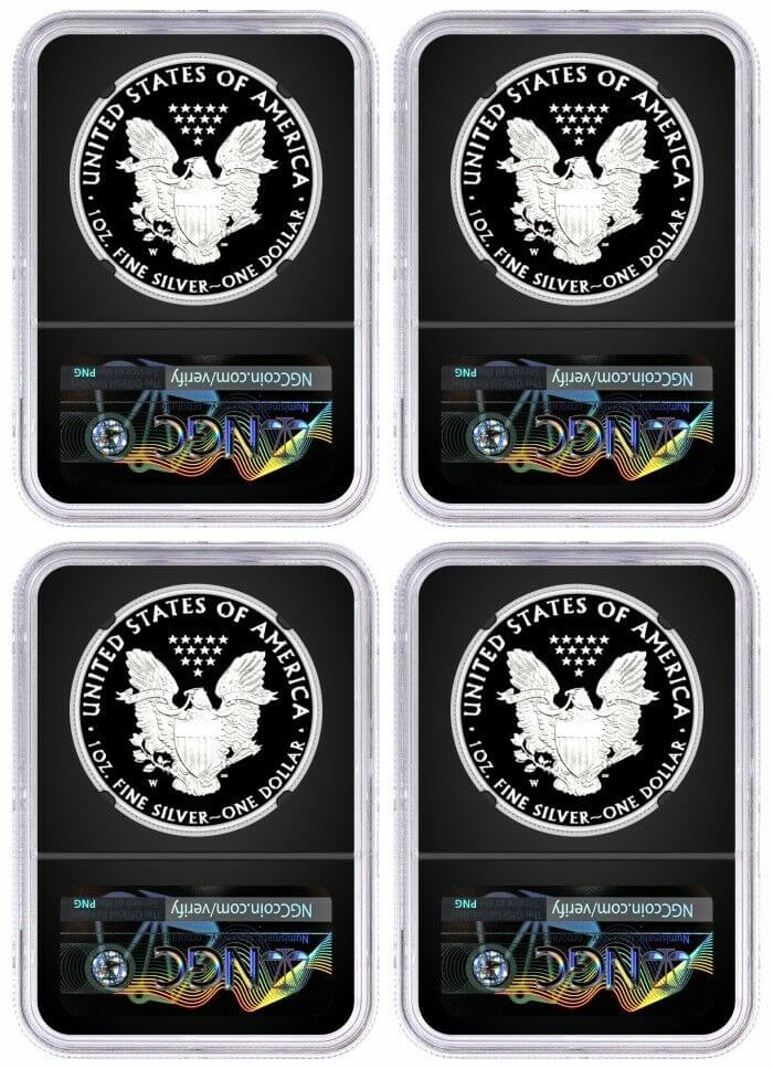 2019 W Proof Silver Eagle Congratulations Set 4 Coin Mint Locations Set NGC PF70 UCAM First Day of Issue Mercanti  Signed Black Core with 10 Coin Vault