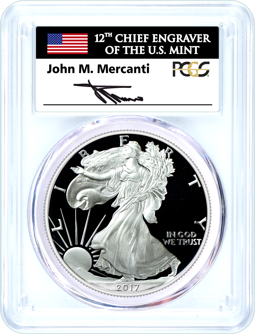2017 W (2020) $1 Silver Eagle W.P. Mint Hoard PCGS PR70 DCAM Mercanti Signed Flag Label
