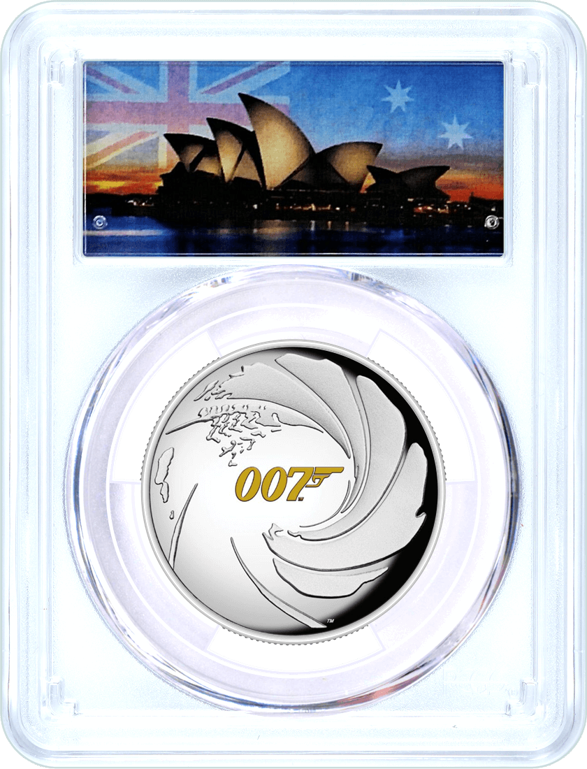 2020 Tuvalu $1 Silver High Relief James Bond 007 PCGS PR69 DCAM First Day of Issue Opera House Label