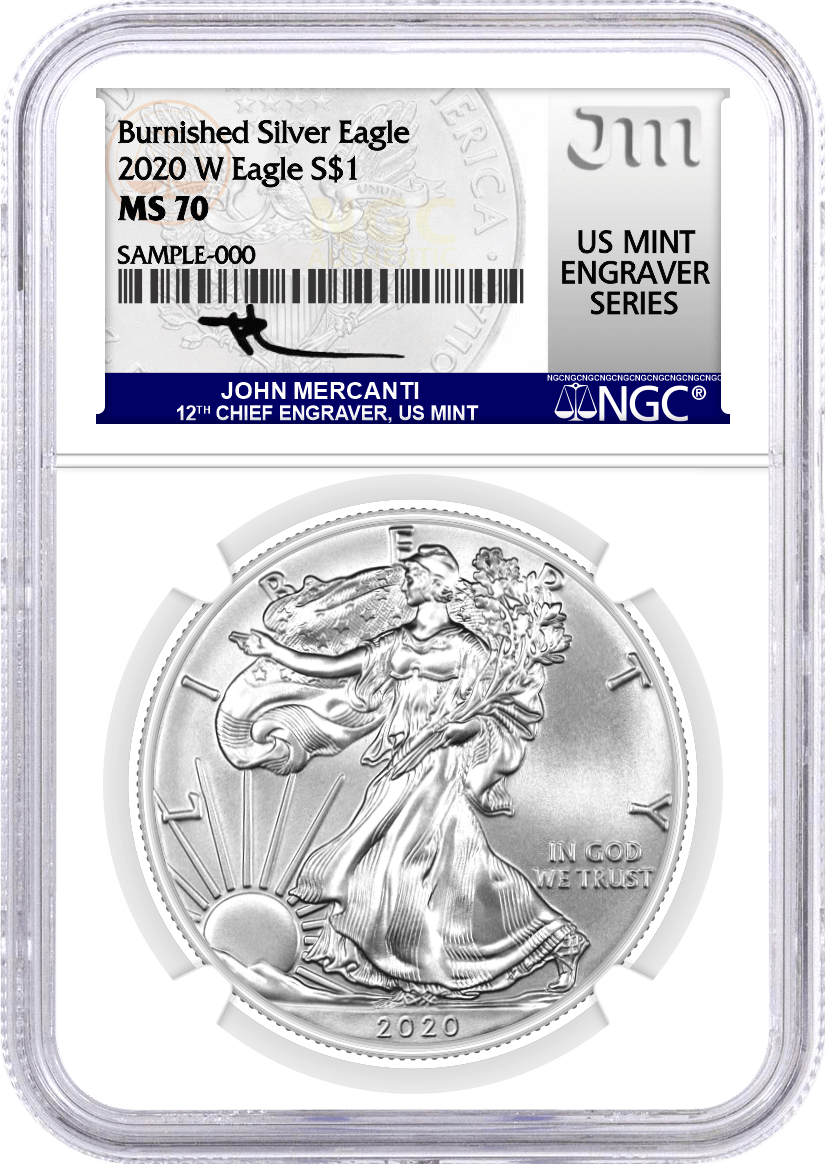 2020 W $1 Burnished Silver Eagle NGC MS70 Mercanti Signature U.S. Mint Engraver Series