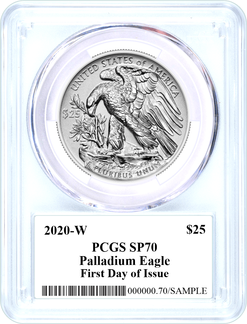 2020 W $25 Burnished Palladium Eagle PCGS SP70 Mercanti Signed Flag Label First Day of Issue with Display Case