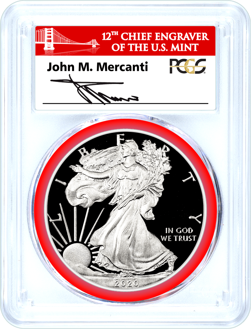 2020 S Proof Silver Eagle PCGS PR70 DCAM First Day of Issue Mercanti Signed Bridge Label Mint Engraver Series
