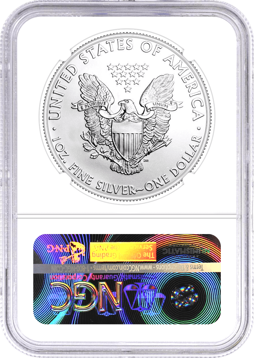 2021 $1 (P) $1 Silver Eagle Heraldic Eagle Type 1 Struck at Philadelphia Emergency Production NGC MS70 First Day of Issue Mercanti Signature U.S. Mint Engraver Series
