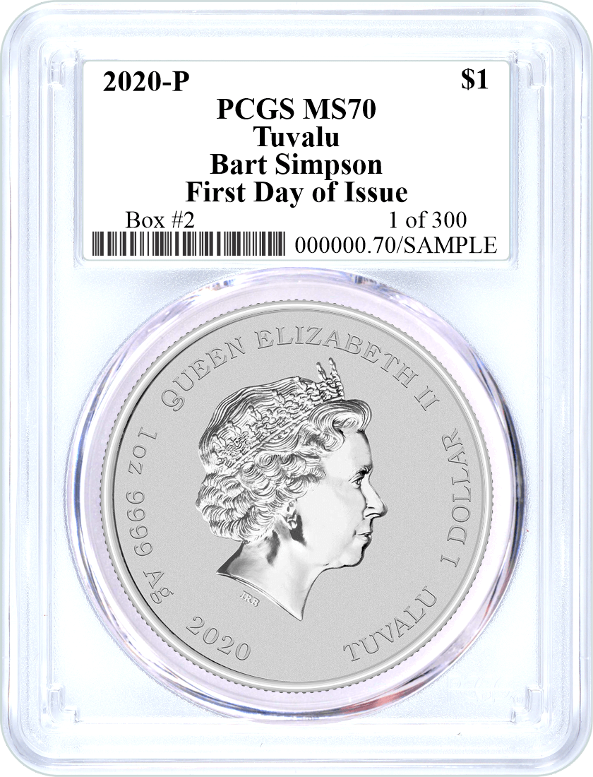 2020 P $1 Tuvalu Silver Bart Simpson PCGS MS70 First Day of Issue 1 of 300 Box #2