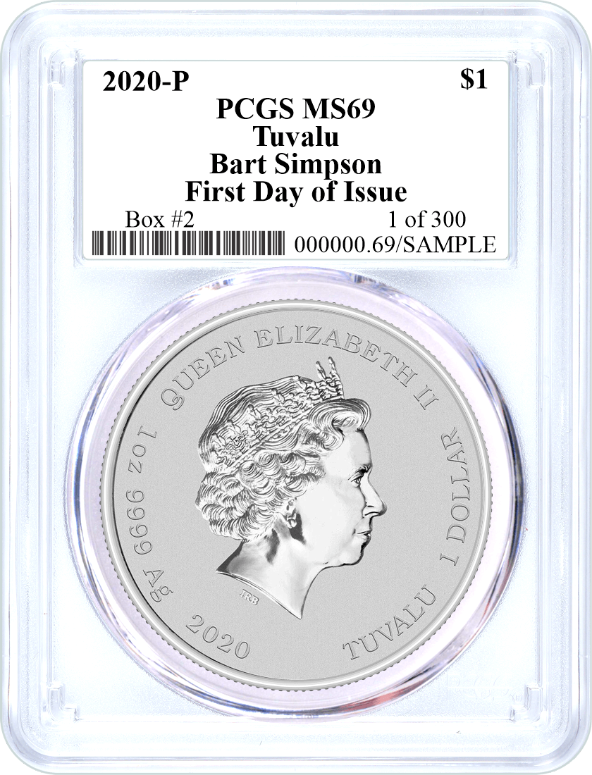 2020 P $1 Tuvalu Silver Bart Simpson PCGS MS69 First Day of Issue 1 of 300 Box #2