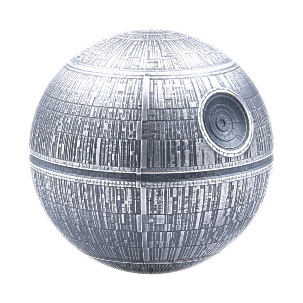 2020 Niue $100 Pure .999 Silver Kilo Spherical Star Wars Death Star in OGP with COA and Display Case