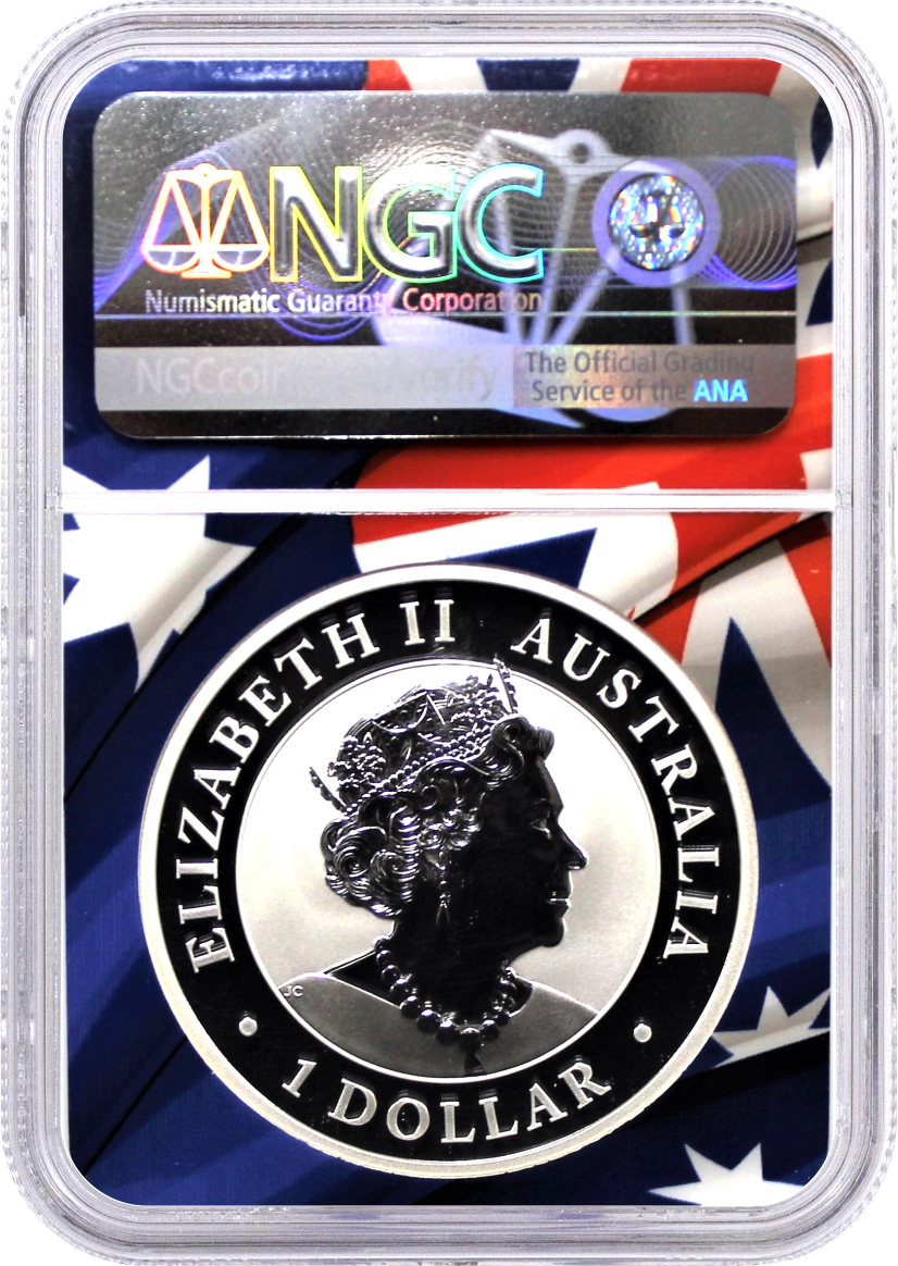 2021 P $1 Australia 1oz Silver Wedge Tailed Eagle NGC MS70 First Day of Issue Mercanti Signed Flag Core