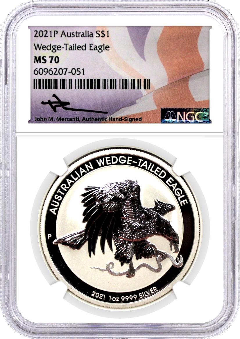 2021 P $1 Australia 1oz Silver Wedge Tailed Eagle NGC MS70 Mercanti Signature Flag Core