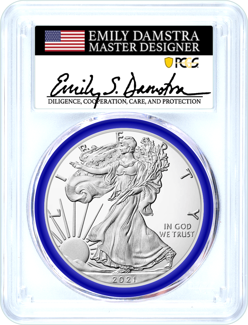 2021 (W) Silver Eagle Struck at West Point Type 2 PCGS MS70 First Strike Damstra Signed Mint Designer Series