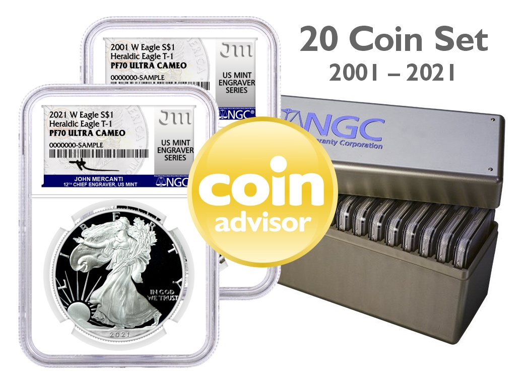 2001-2021 W $1 Proof Silver Eagle 20 Coin Set Type 1 NGC PF70 UCAM Mercanti Signed U.S. Mint Engraver Series