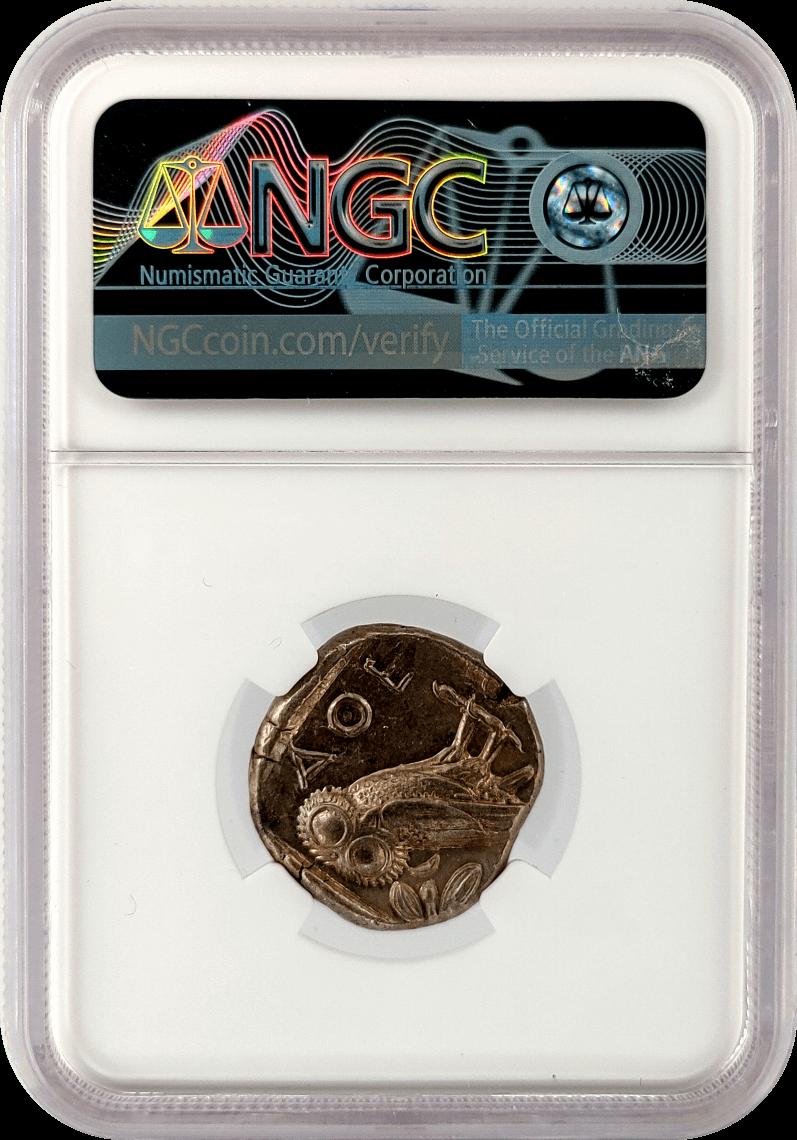 c. 440-404 BC Attica, Athens Owl Silver Tetradrachm NGC Ch AU Strike 5/5 Surface 4/5 w/ Wood Case