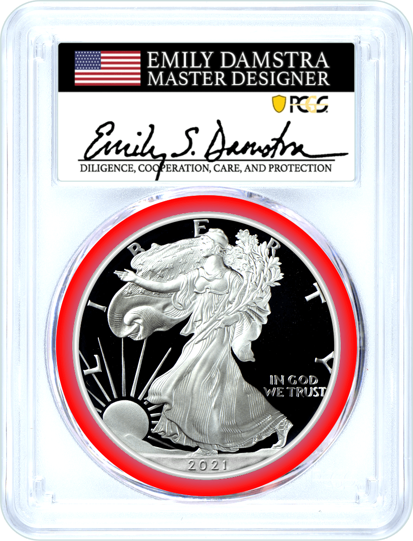 2021 S $1 Proof Silver Eagle Type 2 PCGS PR70 DCAM First Strike Damstra Signed Mint Designer Series