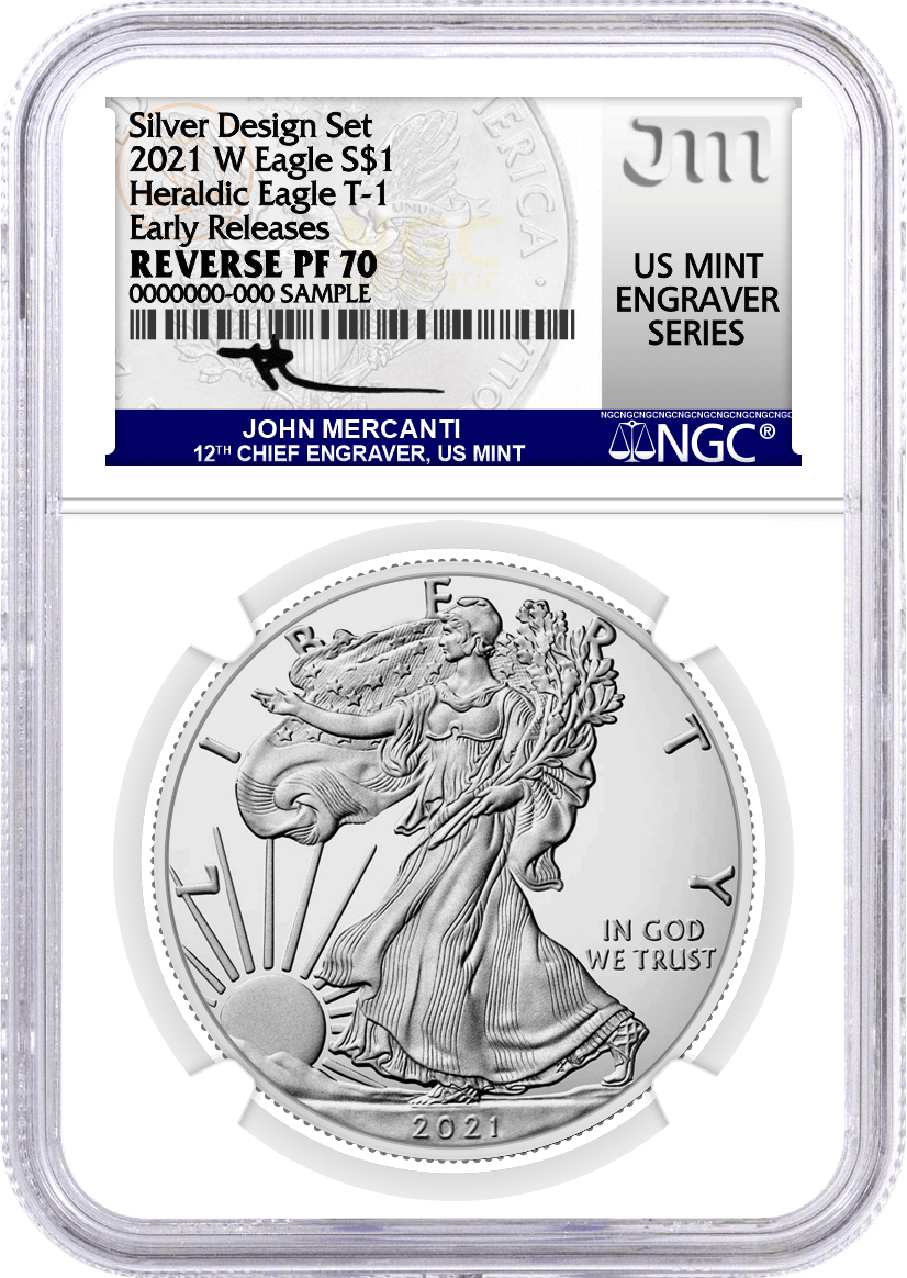 2021 WS $1 Silver Eagle Reverse Proof 2-Coin Designer Edition Set NGC Rev PF70 Mercanti MES Gaudioso MES Early Releases