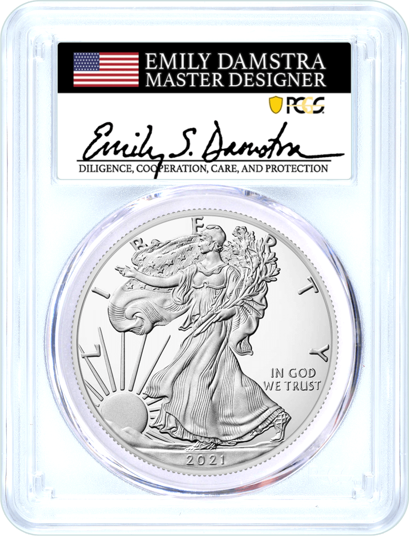 2021 (S) $1 Silver Eagle Type 2 Struck at San Francisco Emergency Issue PCGS MS70 First Day of Issue Damstra Signature Flag Label