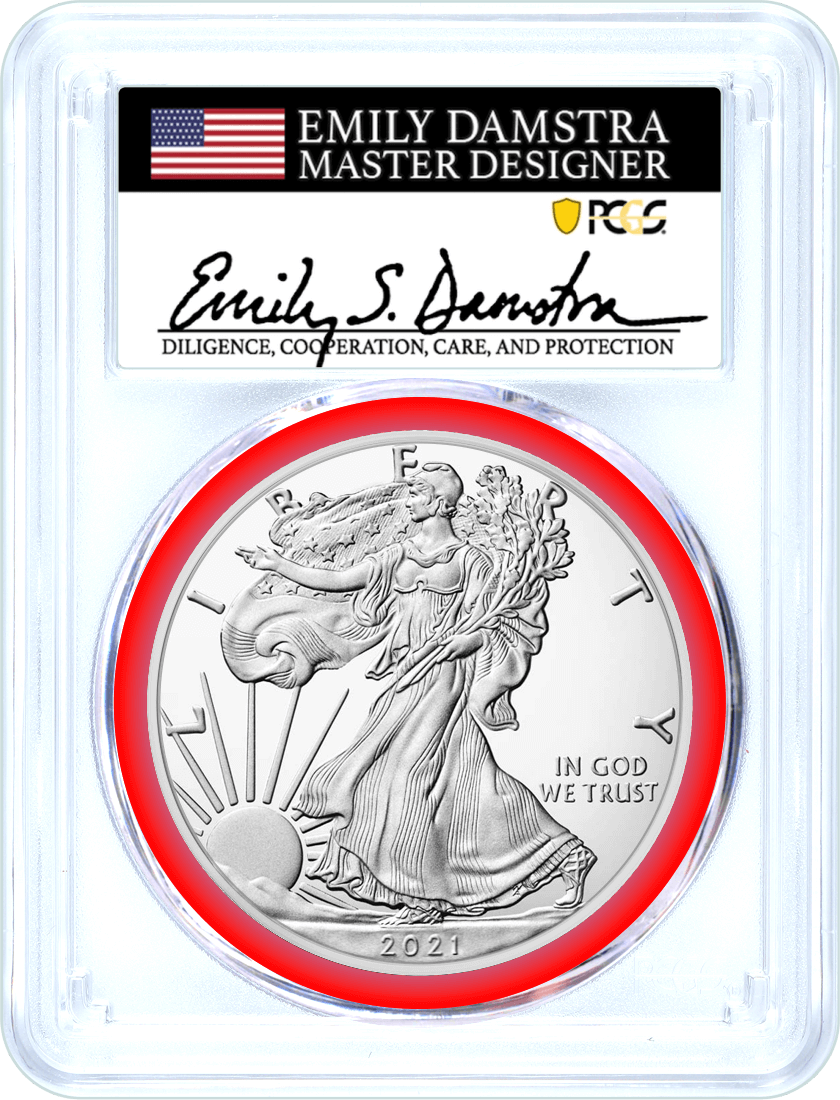 2021 (S) $1 Silver Eagle Type 2 Struck at San Francisco Emergency Issue PCGS MS70 First Day of Issue Damstra Signature Mint Designer Series