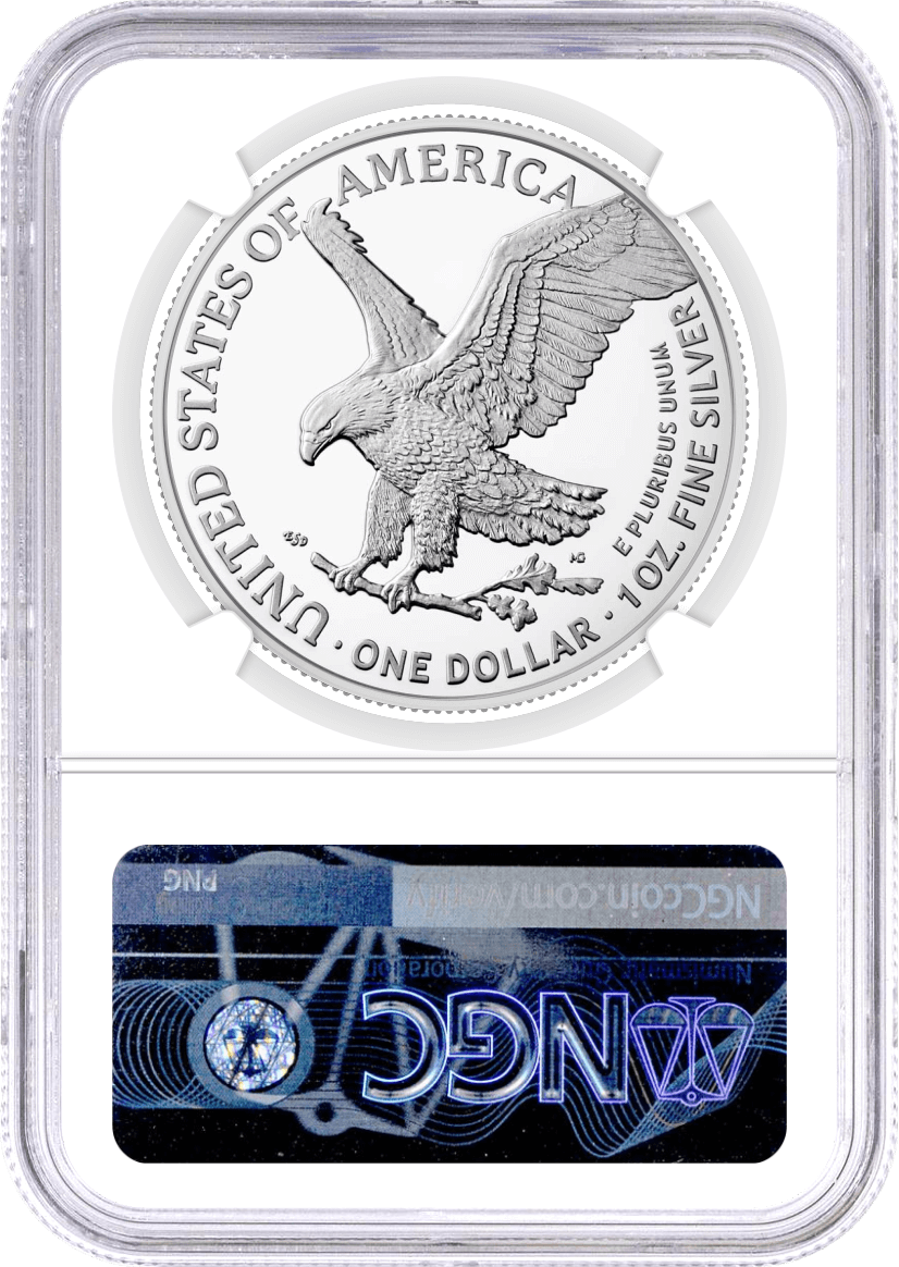 2021 (S) $1 Silver Eagle Type 2 Struck at San Francisco Emergency Production NGC MS70 First Day of Issue 35th Anniversary Label